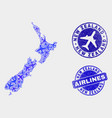 aerial composition new zealand map and vector image vector image