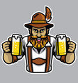 bearded bavarian man holding a couple of beer vector image vector image