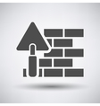 Brick wall with trowel icon vector image