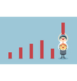 Businessman lifting increase graph with support vector image
