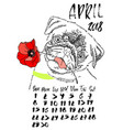 calendar with dry brush lettering april 2018 dog vector image vector image