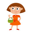 cartoon cute girl with small bags vector image