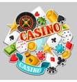 Casino gambling background design with game vector image vector image
