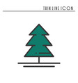 christmas tree thin line icon spruce fir new vector image vector image