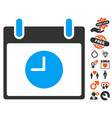 clock calendar day icon with lovely bonus vector image vector image