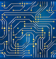 computer microchip seamless pattern on blue vector image