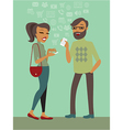Couple using smartphones vector image