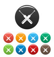 cricket pad icons set color vector image vector image