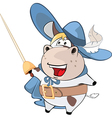 Cute Cow King Musketeer Cartoon vector image vector image