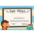 Diploma template with girl and board vector image vector image