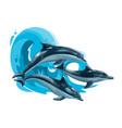 dolphins jump in sea waves ocean animals vector image