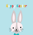 easter greeting card with cute bunny hoppy easter vector image