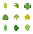 forest leaves icons set cartoon style vector image vector image