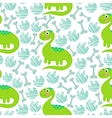Green dinosaur seamless pattern vector image vector image