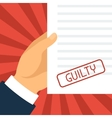 Guilty concept hand holding paper with stamp vector image vector image