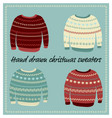 hand drawn christmas sweaters vector image vector image
