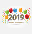 happy new year 2019 gold balloons vector image