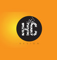 hc h c logo made of small letters with black vector image vector image