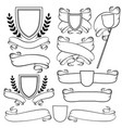 heraldic ribbons and crest isolated outline vector image vector image