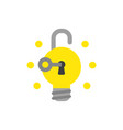 icon concept of key unlock light bulb padlock and vector image
