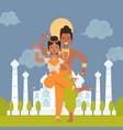 indian dancers cartoon characters vector image vector image