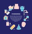 menstruation pain round concept banner in line vector image