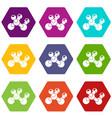 molecule bio icons set 9 vector image vector image