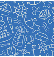nautical sketch doodle icons seamless light blue vector image vector image