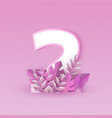 number two pink elegant vector image