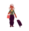Old senior African American woman with suitcase vector image