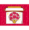 open box with icon of bouquet of flowers vector image