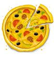 pizza fast food illustration vector image vector image