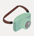 retro green camera with strap vector image