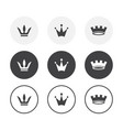 set 3 simple design crown icons rounded vector image