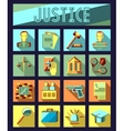 set law and justice flat icons with lawyer vector image