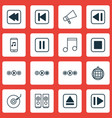 set of 16 audio icons includes mute song song ui vector image vector image