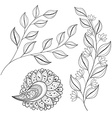 Set of Monochrome Contour Flowers and Leaves vector image vector image