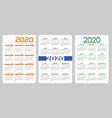 set vertical pocket calendar 2020 year on spanish vector image vector image