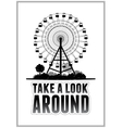 Silhouette of a ferris wheel at the park vector image