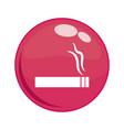 smoke cigarette button icon vector image