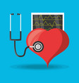 stethoscope check to heart and review cardiac vector image vector image