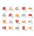 stylized data and analytics icons vector image vector image
