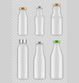transparent glass bottles packages for juice milk vector image vector image