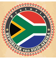 Vintage label cards of South Africa flag vector image