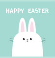 white bunny rabbit head face picaboo happy easter vector image vector image