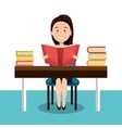 woman reading textbook r icon vector image