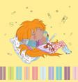Teenage redheaded girl ill vector image