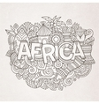 Africa ethnic hand lettering and doodles elements vector image
