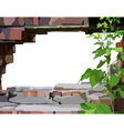 background frame a hole in a brick wall vector image vector image