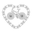 bicycle vehicle with heart chain vector image vector image